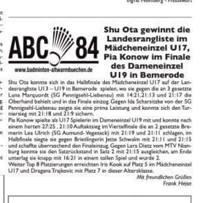 Altwarmbüchener BC Zeitung Shu Ota gewinnt Landesrangliste in Bemerode