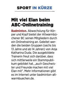 Presse Badminton Onlinetraining
